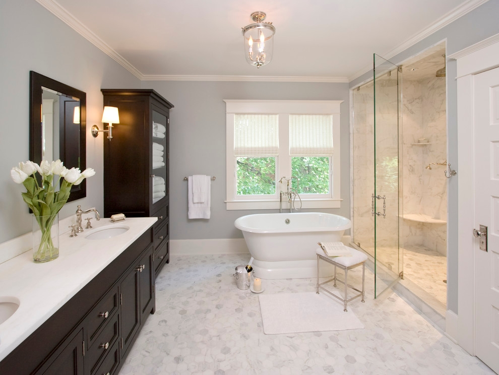 Traditional Bathroom with Chandelier Lighting