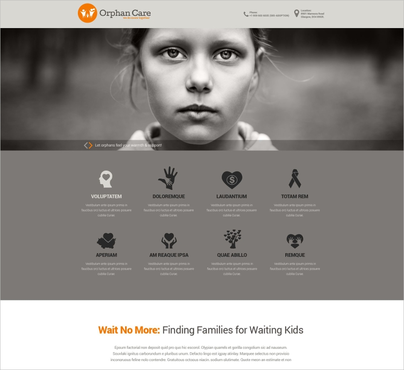 Orphan Care Website Template