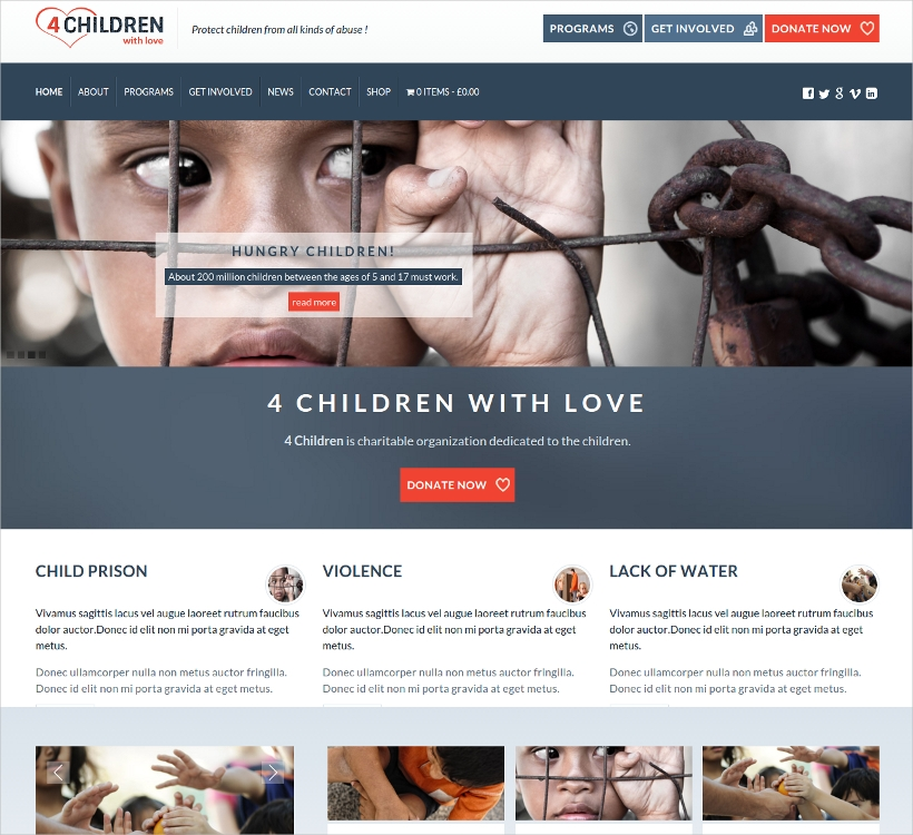 Children Charity Website Template