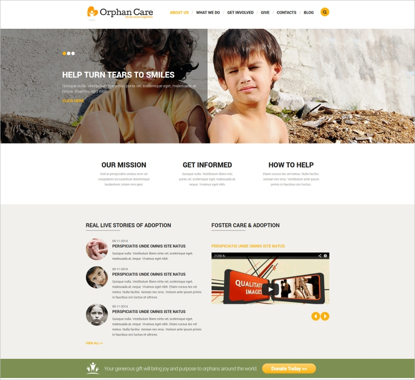 Joomla Orphanage Responsive Template