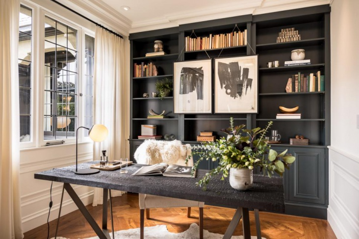 Attractive Home Office Decor With Charred Wood Desk
