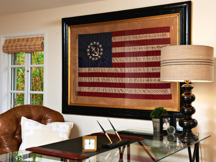 framed flag decor in country home office