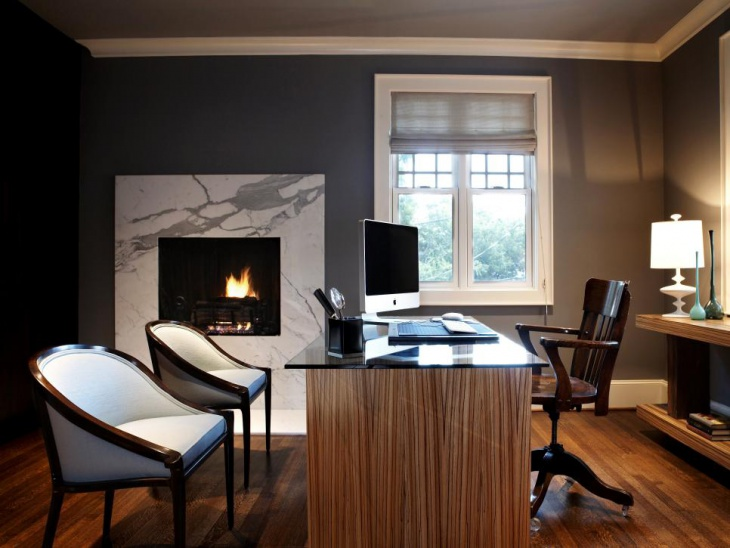 home office with classic fireplace decor
