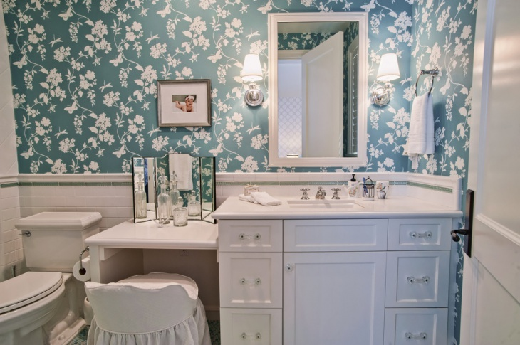 Flower Tiles with Modern Bathroom Vanity