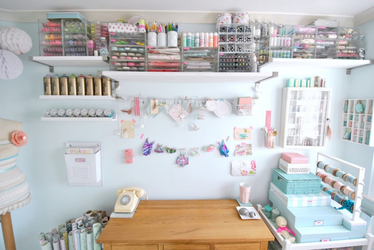 Craft Office Room Table with Storage Shelves