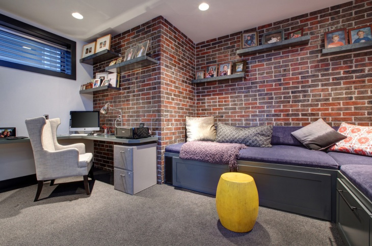 bricks wall design for home ofiice