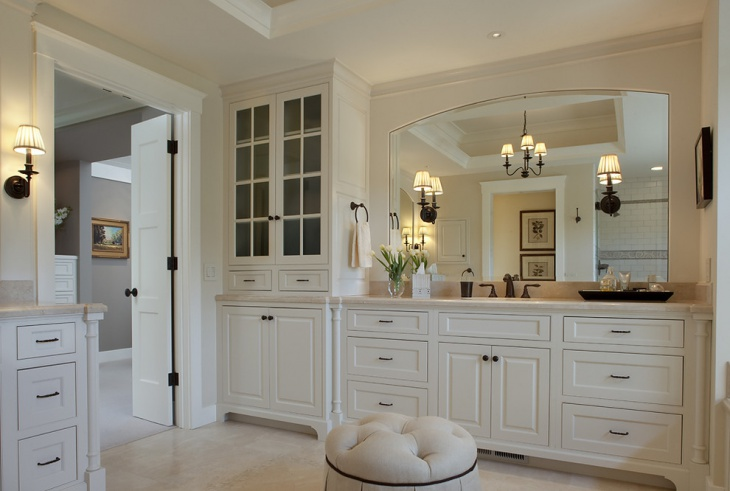 Traditional Bathroom with Crystal Cabinetry