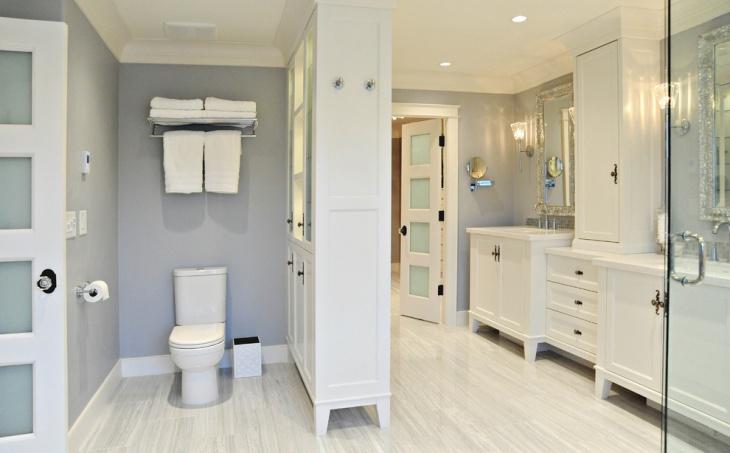 Double Sinks with White Vanity Bathroom