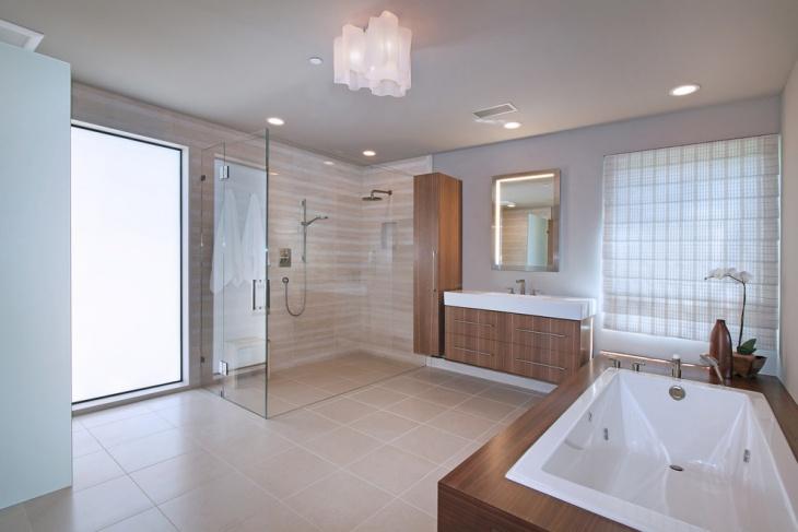 bathroom with modern cupboards