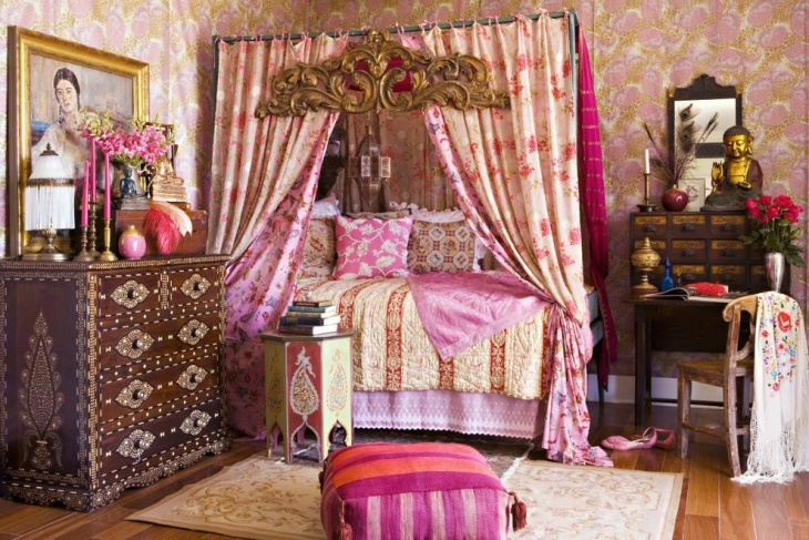 Pretty Pink Bohemian Style Bedroom