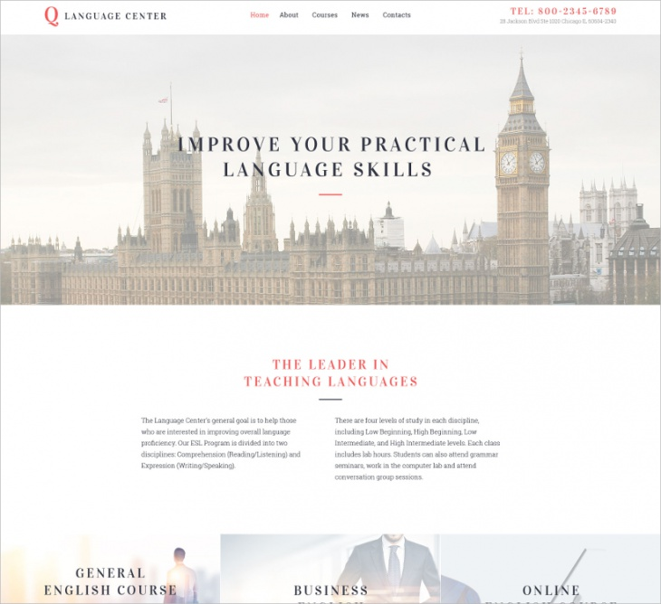 Language School Website Template