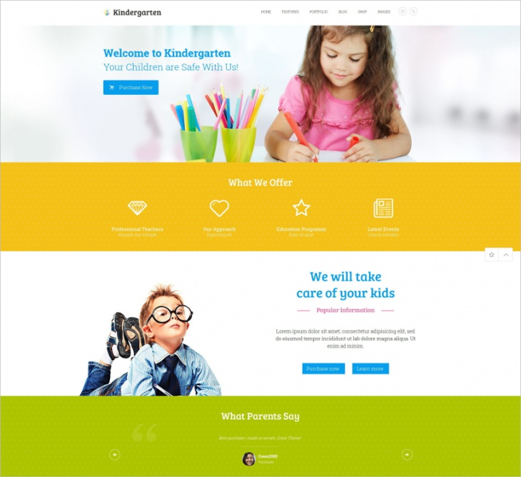Kindergarten Children HTML Theme