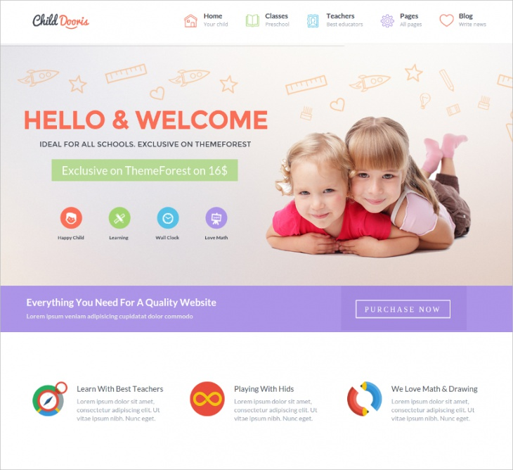 Kindergarten & School HTML Template