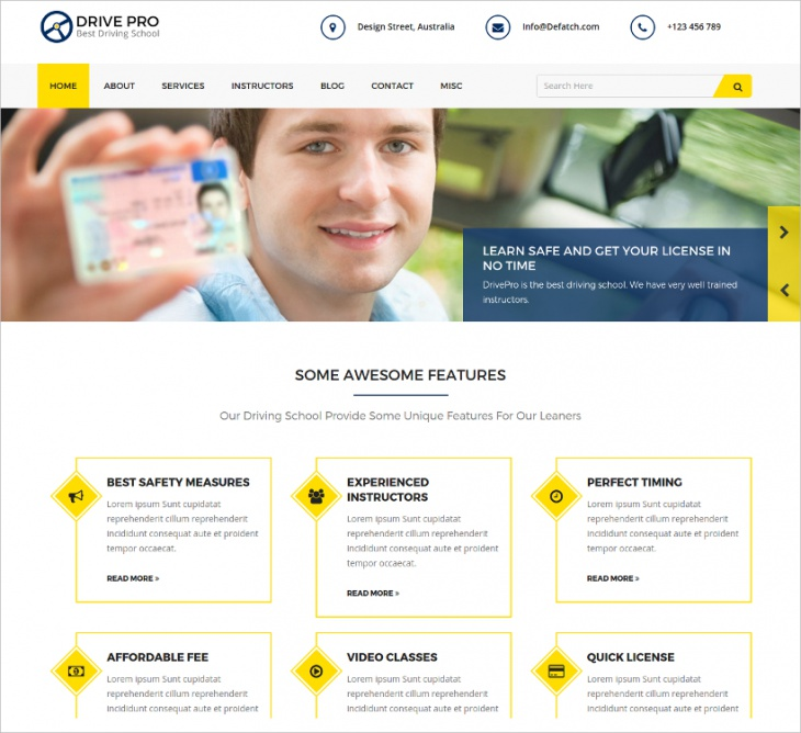 Driving School Website Theme