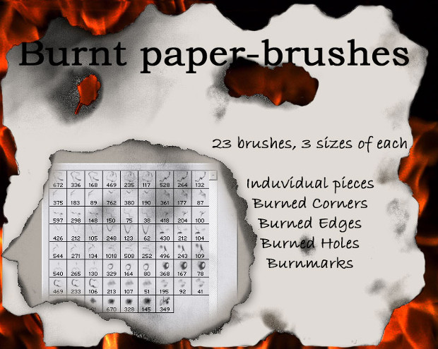 23 burnt paper photoshop brushes