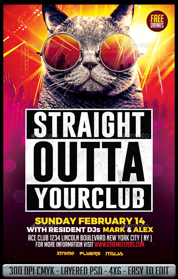 Straight Outta Your Club Flyer Template