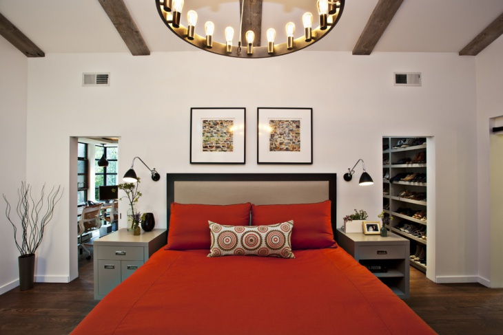 danish modern bed with side tables