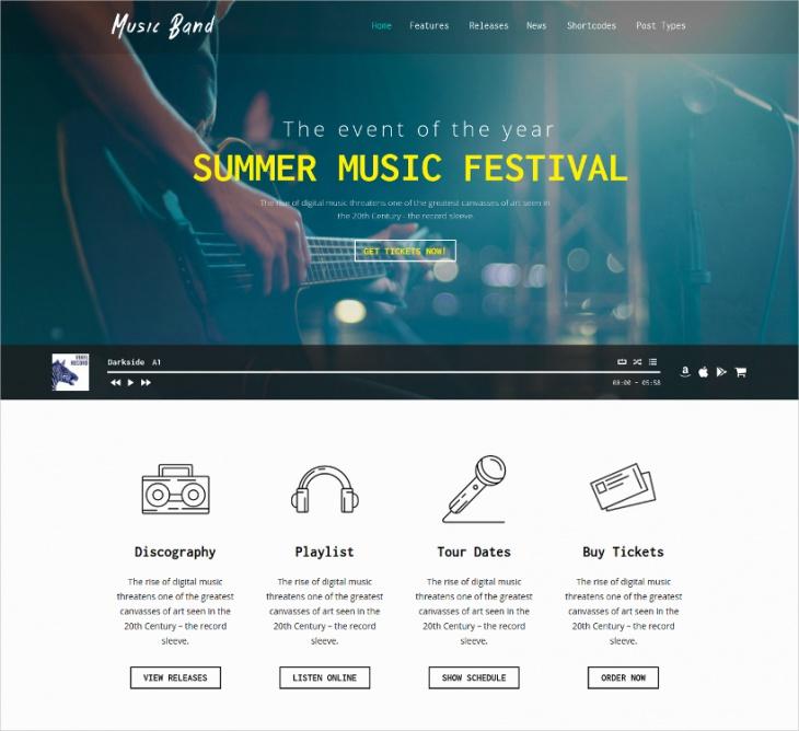 Music Club WordPress Theme