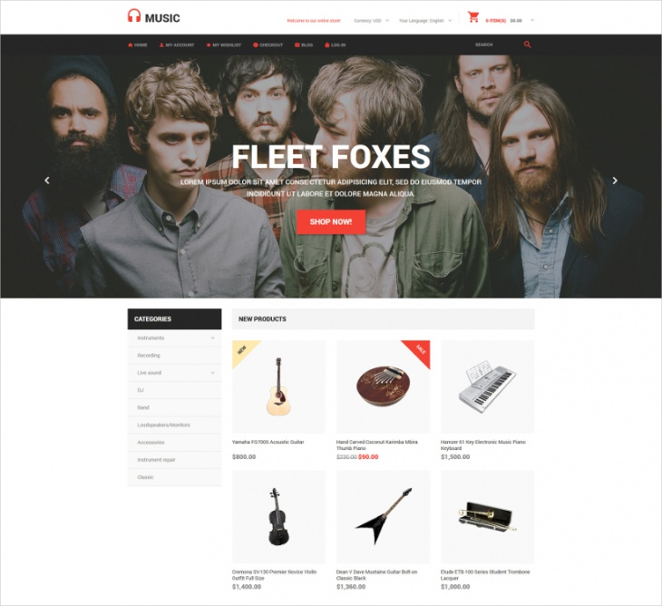Music Store Magento Template
