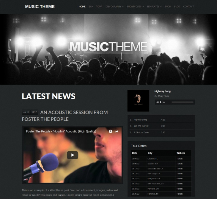 wordpress theme for bands musicians