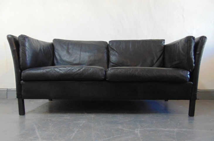 Danish 1960's Black Leather Sofa