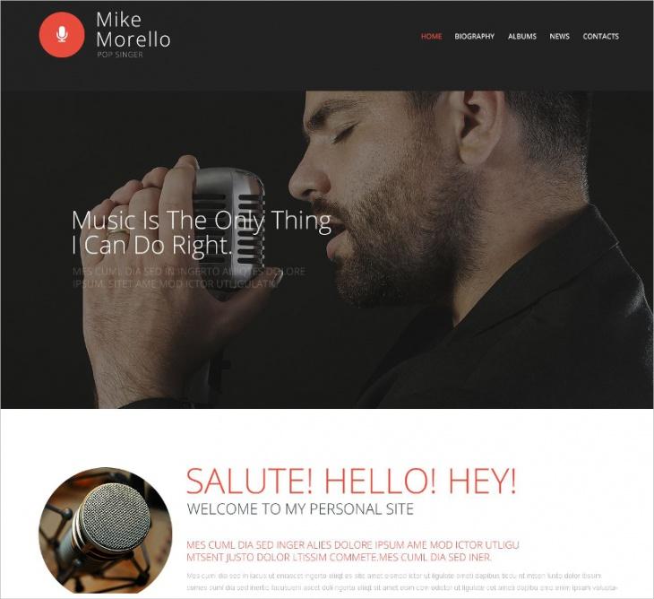 Singer Portfolio Website Template
