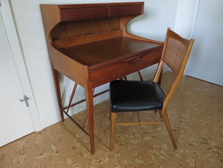 Danish Teak Wood Desk and Chair with Leather Seat
