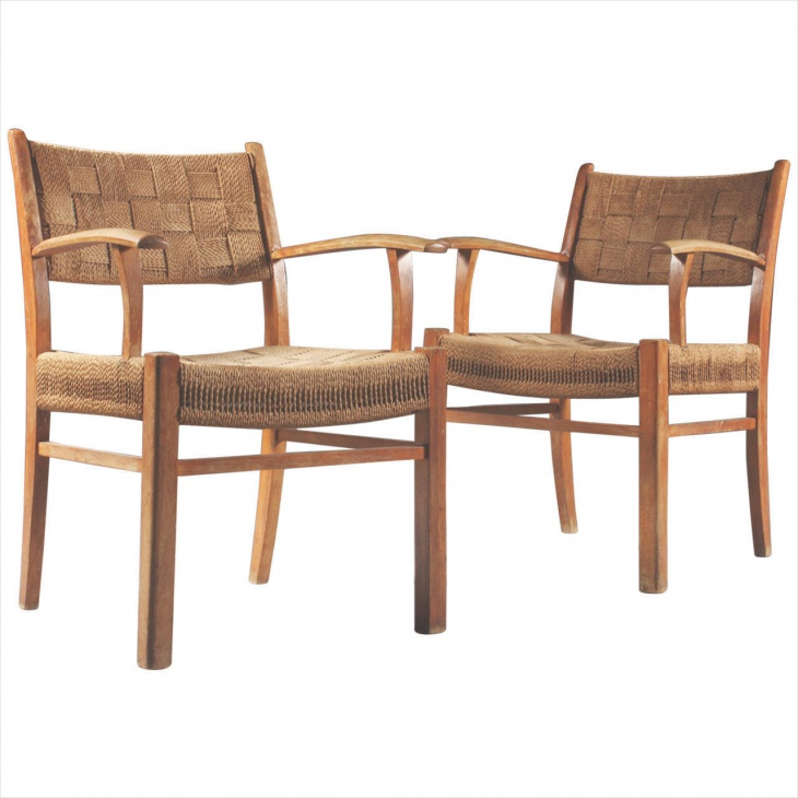 Pair of Danish 1950's Armchairs with Woven Fabric