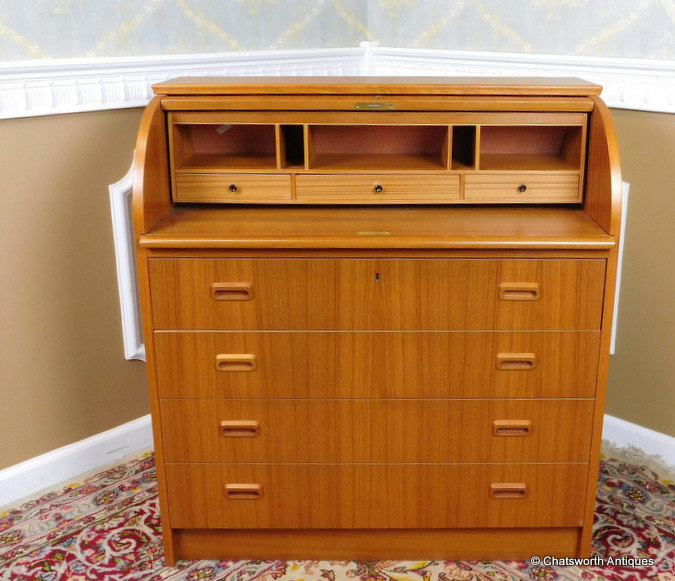 Danish 4 Drawer Teak Desk with Cylinder Cabinets