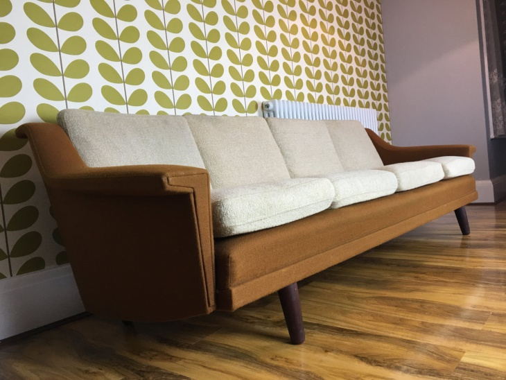 Danish Scandinavian Retro Long 4 Seat Sofa