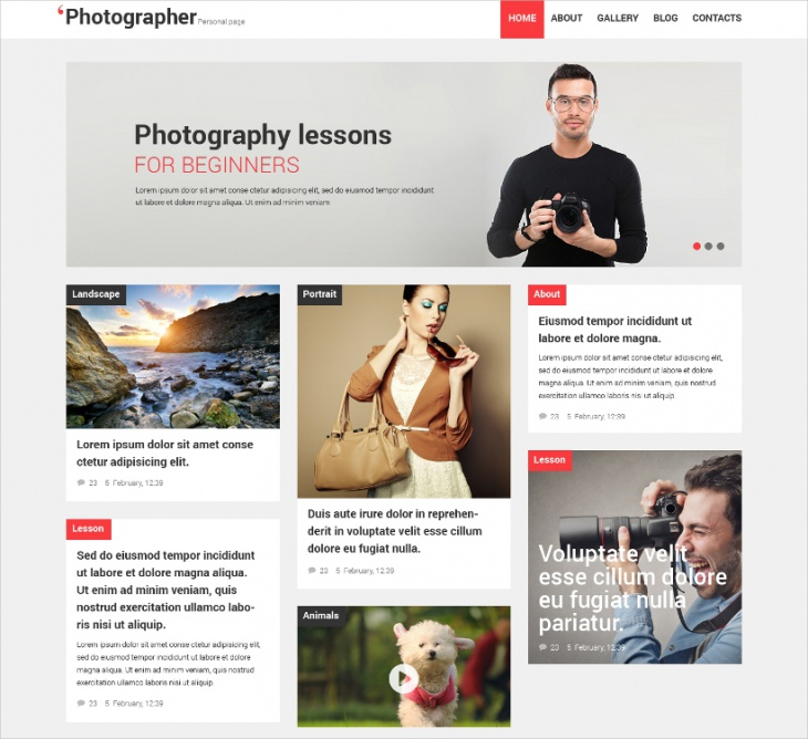 Photographer Personal Page Template