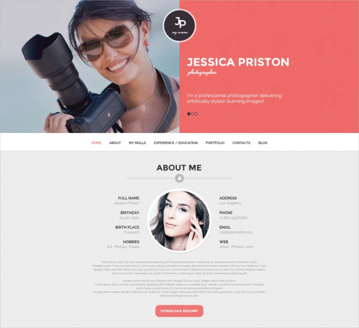 8 best photographer website themes templates design trends wordpress photographer cv template 75 pronofoot35fo Image collections