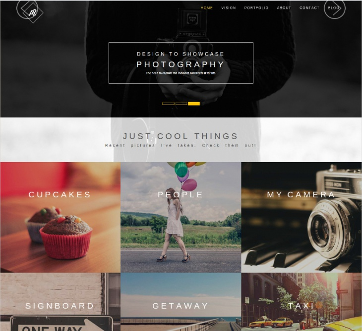 bootstrap based wp photography theme