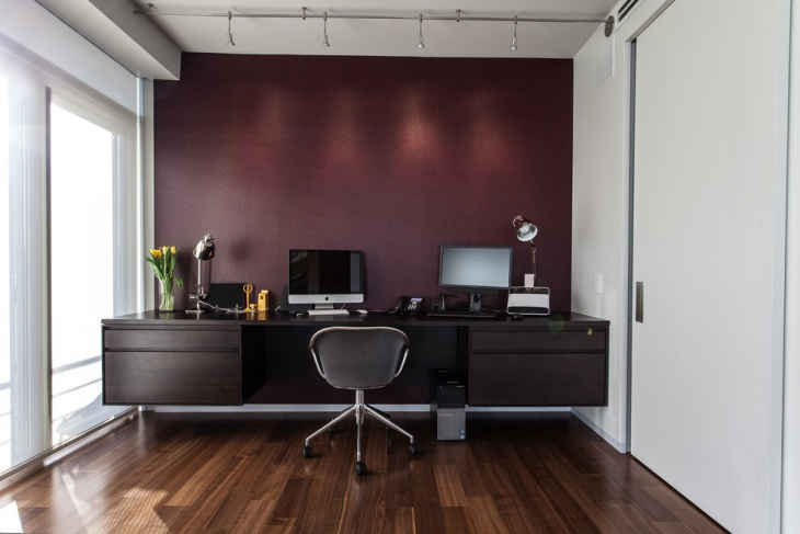 21 home office accent wall designs decor ideas for Peinture couleur aubergine