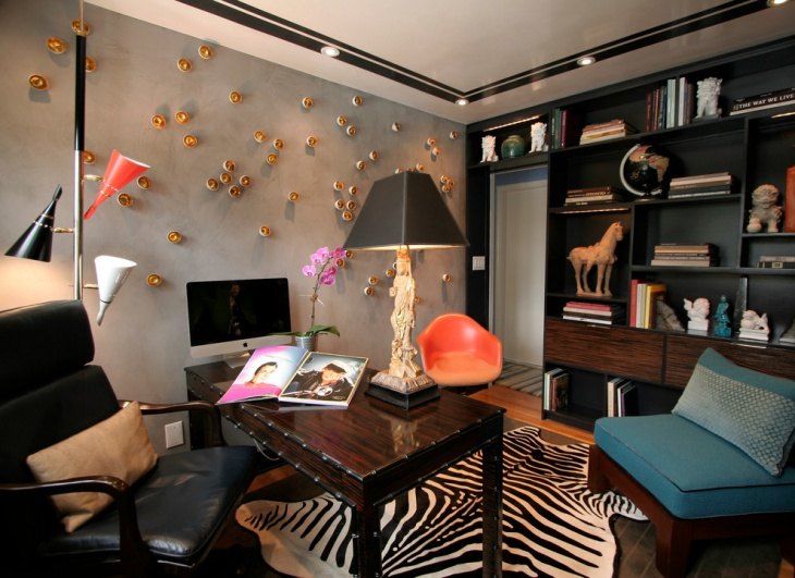 Eclectic Home Office Accent Wall Design