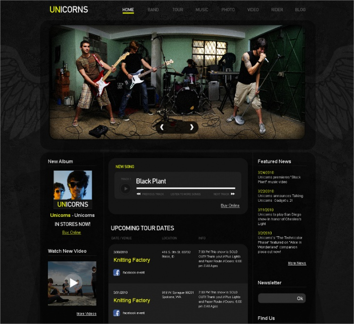 Band Moto CMS HTML Template
