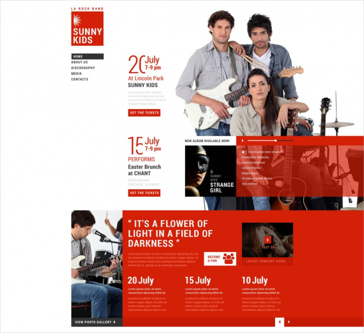 band responsive website template