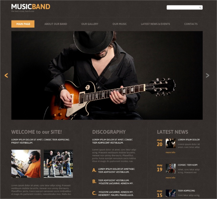 joomla music band responsive template
