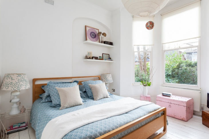 eclectic white pastel bedroom design