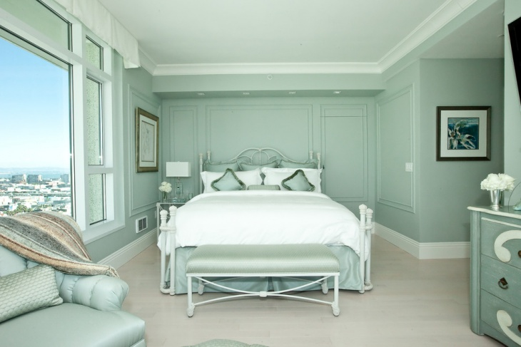lovely bedroom design with green pastel