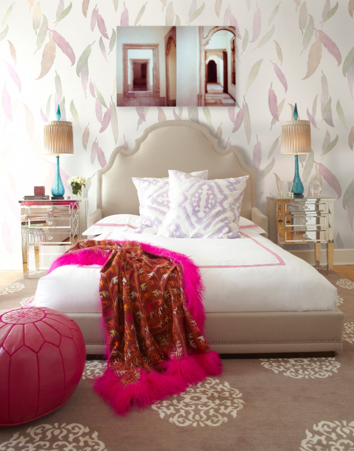 nice girls bedroom design with feathers wallpaper