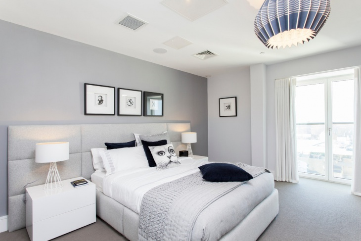 amazing bedroom design with grey pastel