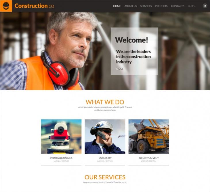 bootstrap construction wordpress theme