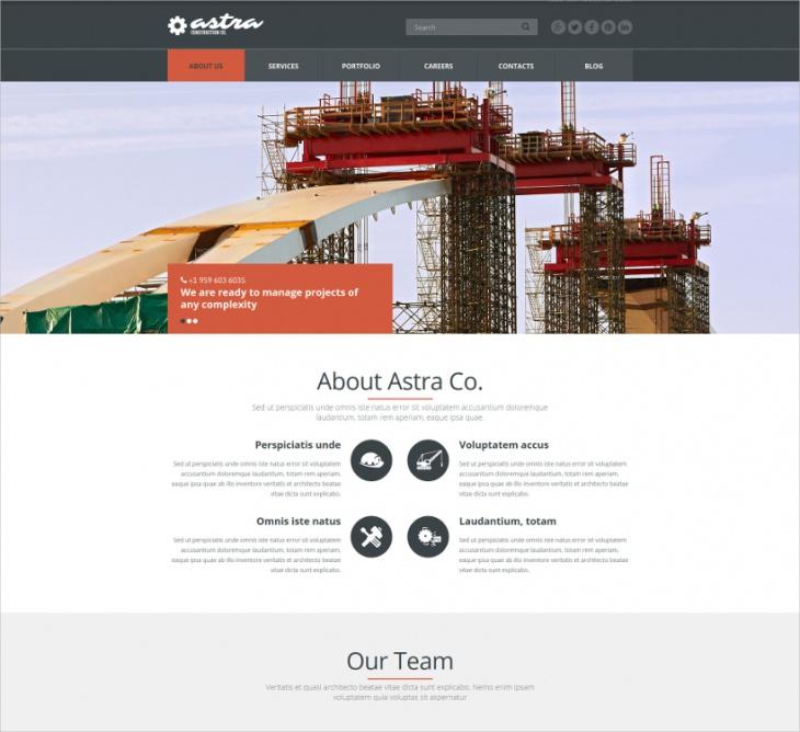 building company joomla template
