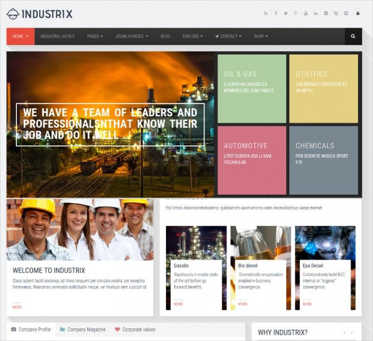 industrix joomla responsive template