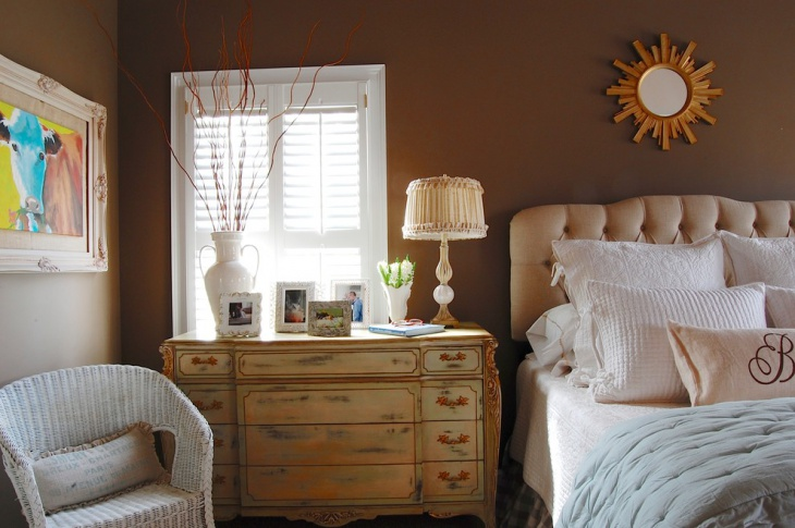 brown pastel bedroom design idea