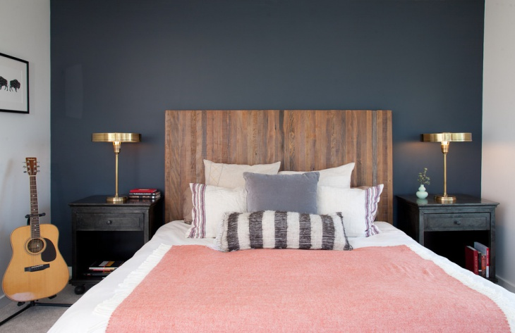 navy blue pastel bedroom design