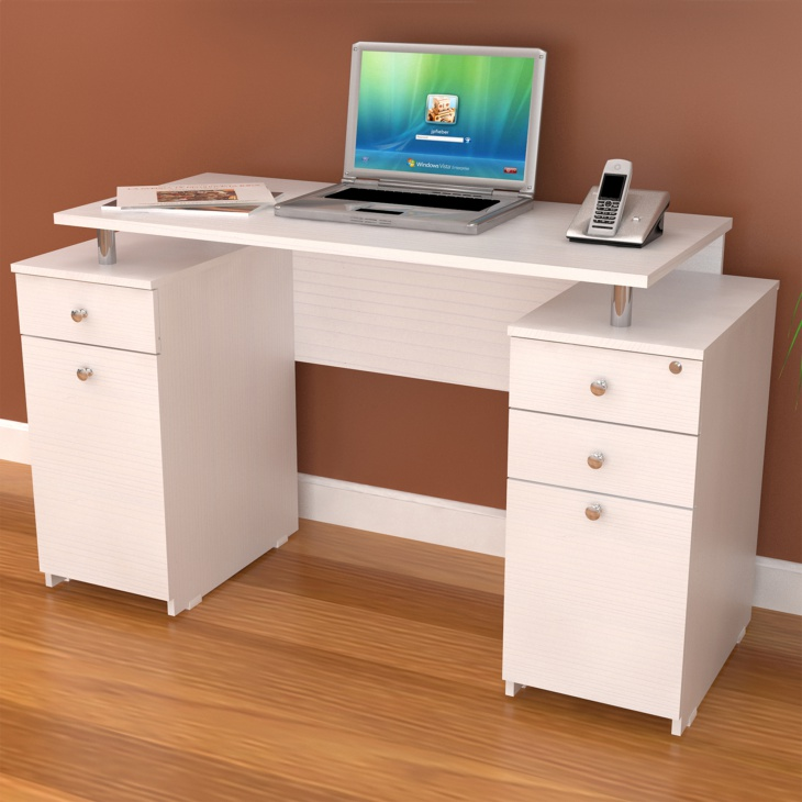 white modern computer desk with locking drawers