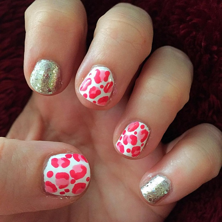 pink leopard with silver accent nails