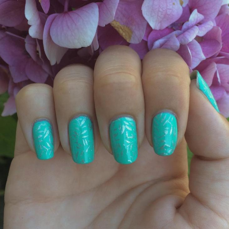 Blue Stamping Nail Designs